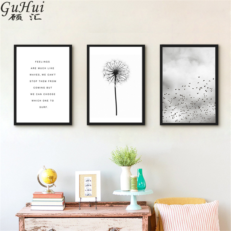 Scandinavian Black White Minimalist Dandelion Canvas