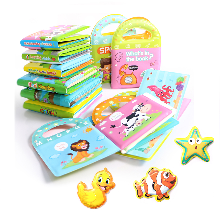 Bath Books Baby Education Cogintive Floating Toys Bathroom Bathing Toy EVA Book Waterproof With BB Whistle Cartoon Animal Toys