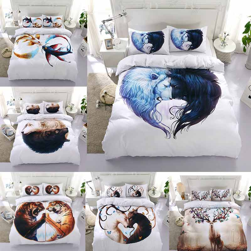 Howling Wolf Yin Yang Tiger Elk Deer Lion Fish Bedding Sets Queen Size 3D Quilt Duvet Cover Bedspread Linen Bedroom Animal F
