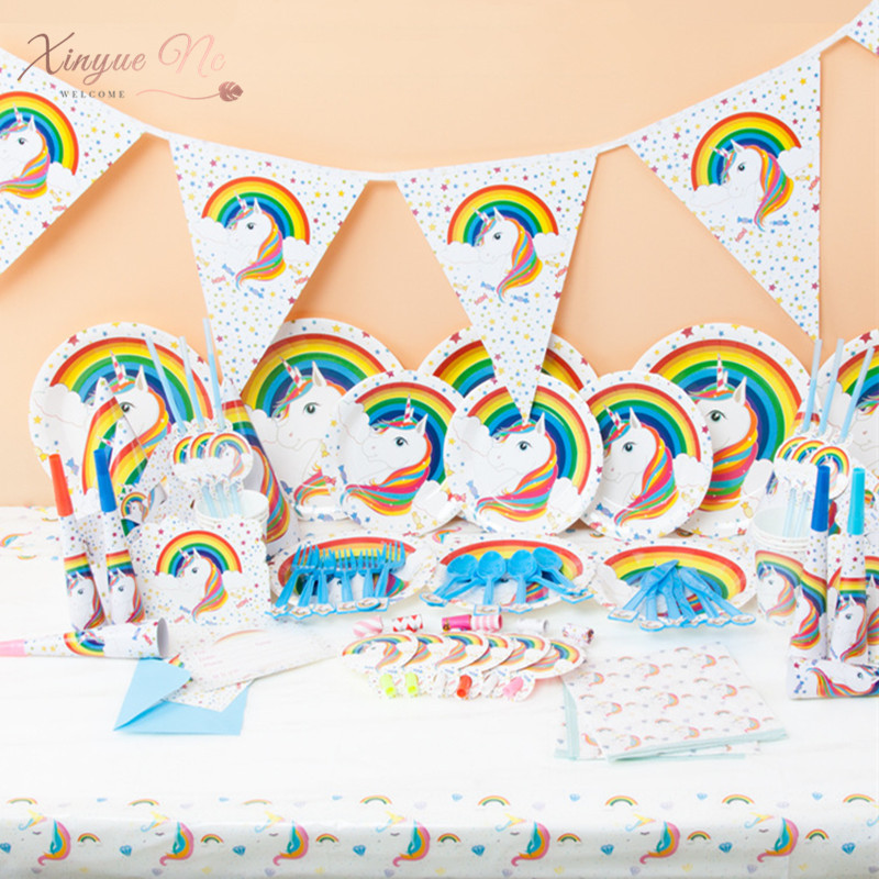 16 Item Unicorn Party Banner/Gift Bag /tableware Birthday Party Plate Popcorn Cup 1st Birthday Children's Day Party Decoration