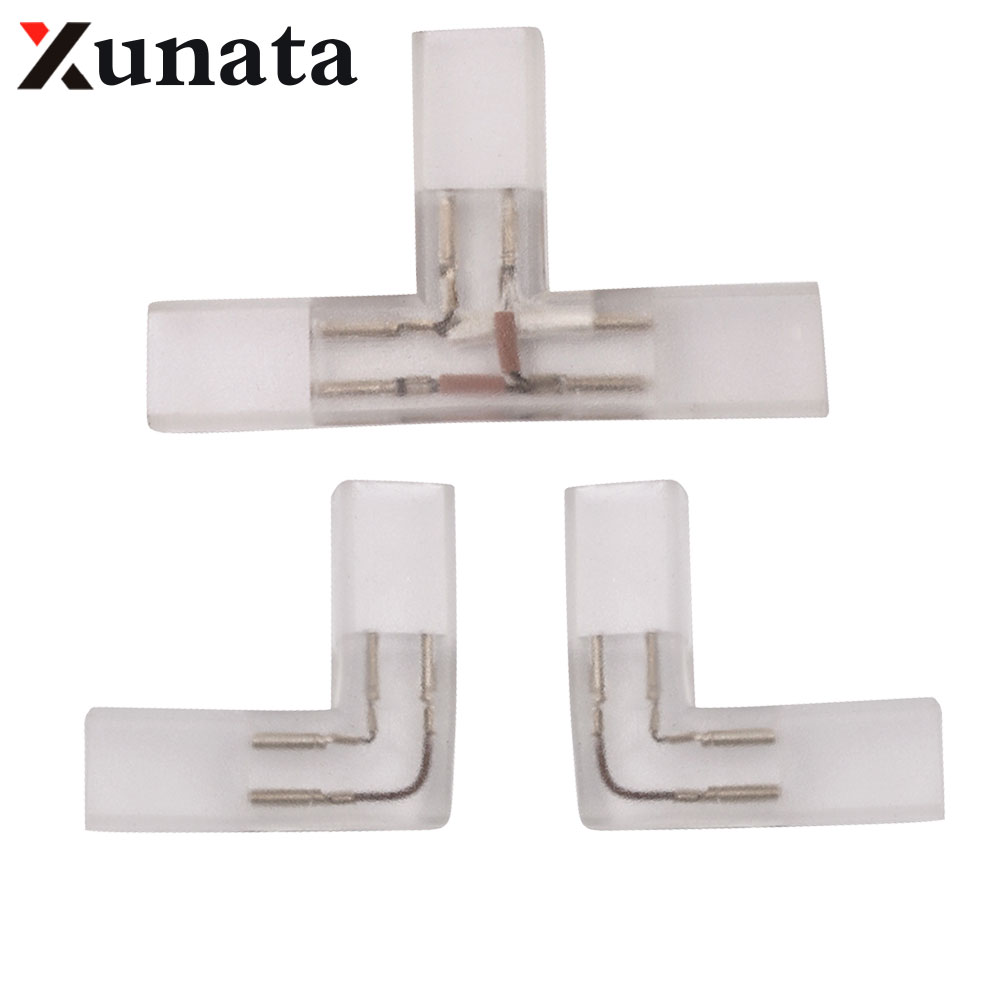 2 Pin L T Shape Corner Connector Middle Plug With Copper Needle For 110V 220V LED Strip 5050 3014 2835 Single Color Dropshopping