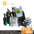 10 In 1 Fiber Optic FTTH Tool Kit with FC-6S Fiber Cleaver and Optical Power Meter 10Mw Visual Fault Locator Optic Stripper