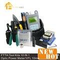 10 em 1 Kit de fibra óptica FTTH ferramenta com FC-6S Fiber Cleaver e Optical Power Meter 10 Mw localizador Visual de falhas óptica Stripper