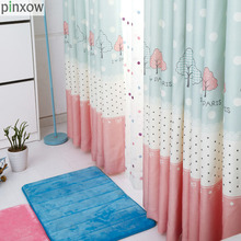 Children Window Curtains Blue Dot Girls Bedroom Curtain Fabrics Pink Lace Drapes Kids Room Printing Embroidered Tulle Sheer New