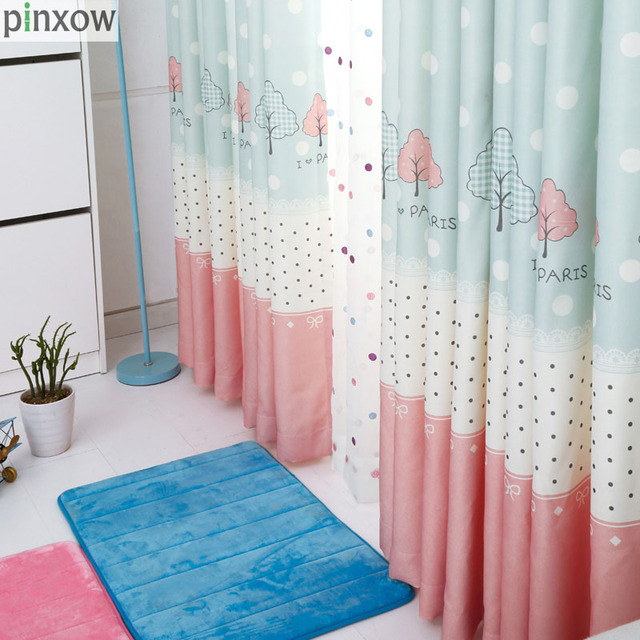 Children Window Curtains Blue Dot Girls Bedroom Curtain Fabrics Pink Lace Drapes Kids Room Printing Embroidered