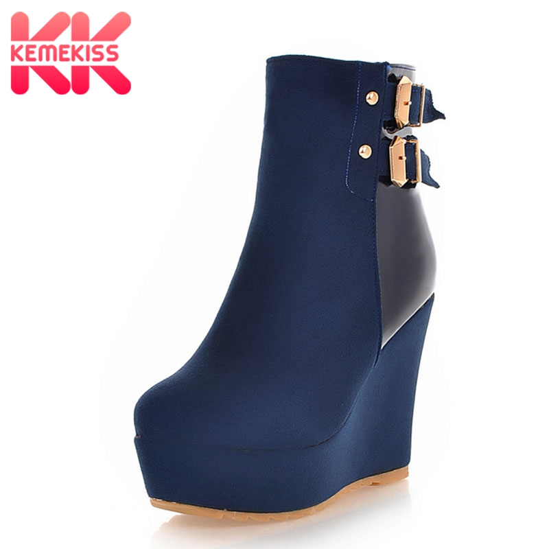KemeKiss Women High Heel Boots Metal Buckle Zipper Platform Wedges Women Ankle Boots Fahsion Mature Short Botas Size 34-39