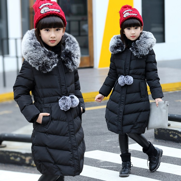 Brand 2017 Winter Children's duck down Outerwear Coats fur long model warm Girl Down jackets coats Warm baby girl down jacket 2018 cold winter warm thick baby child girl hoody long outerwear pink duck down