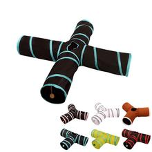 3/4 Holes Pet Cat Tunnel Toy Foldabe T-joint Indoor Outdoor Training Toys For Cats Kitten Pets Play Tubes Dropship