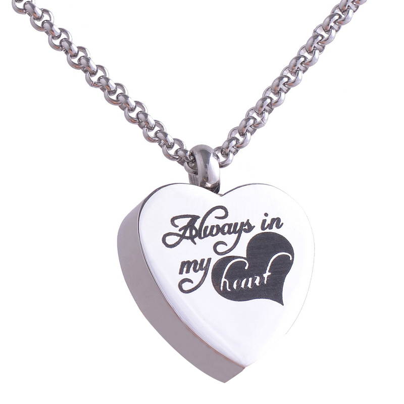 316l stainless steel heart cremation jewelry pendant necklace 316l stainless steel heart cremation jewelry pendant necklace always in my heart pets keepsake urns for ashes silver plated in pendant necklaces from aloadofball Images