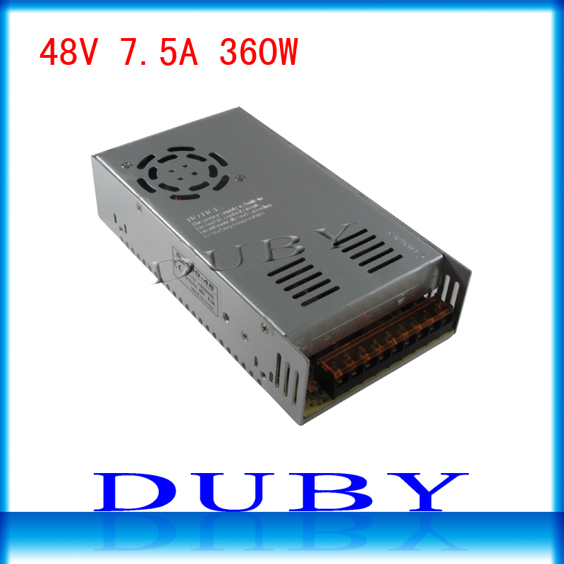 50piece/lot 48V 7.5A 360W Switching power supply Driver For LED Light Strip Display AC100-240V  Factory Supplier  Free Fedex ac 85v 265v to 20 38v 600ma power supply driver adapter for led light lamp