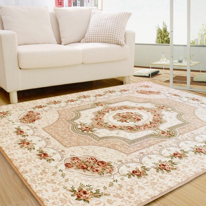 200x240cm grands tapis pour salon européen Jacquard corail tapis doux et lisse salle à manger tapis tapis de sol