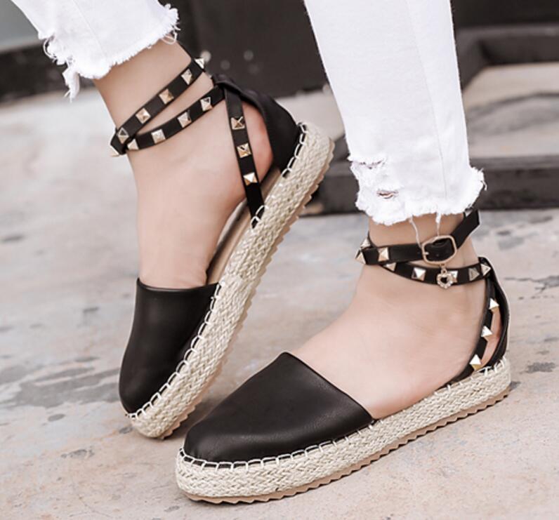 ladies summer sandals women flats footwear woman casual wedge shoes chaussure Zapatos Mujer rivet hemp rope fishman Rome F180079