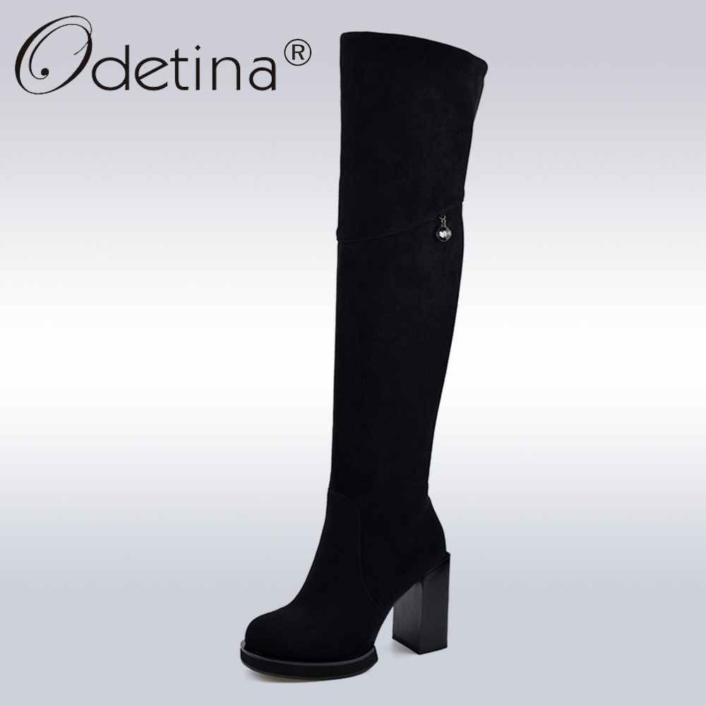 8420165d7f16 Odetina New Fashion Flock Leather Square High Heel Over The Knee Boots  Women Winter Warm Thigh