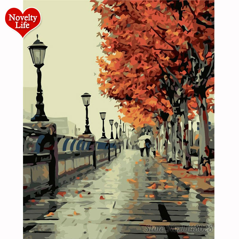 Framed Picture DIY Painting By Numbers Digital Oil Hand Paint On Canvas Coloring by Numbers Home Decor Romantic Autumn Tree B10