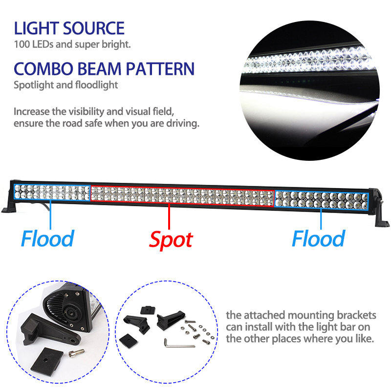 300W 52 Inch Offroad LED Light Bar DRL + Mounting Bracket + Wiring ...
