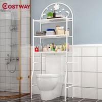 COSTWAY 3 Layer Floor Type Toilet Rack Storage Shelf Holders Racks Saving Space For Bathroom Organizer Estanteria Mensole W0360