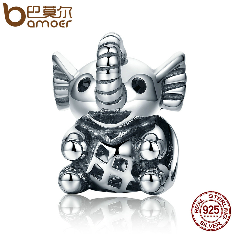 BAMOER New Arrival 925 Sterling Silver Baby Elephant & Openwork Screw Animal Beads fit Charm Bracelet for Women Jewelry SCC202 цены онлайн