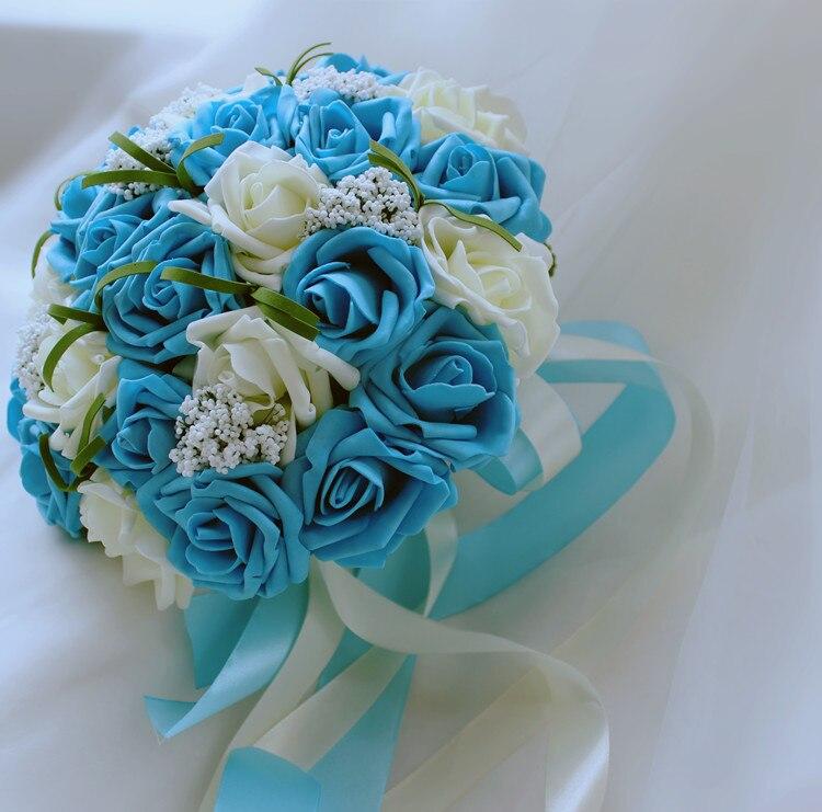 stock artificial rose flores azules perlas nupcial de la novia ramos de babysbreath flor dama