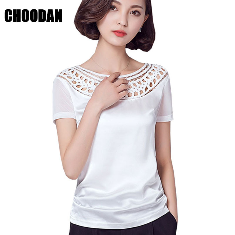 570916aeff3828 Satin Blouse Shirt Mesh Patchwork Sexy Lace Hollow Out Women Shirts Short  Sleeve 2017 Summer Korean