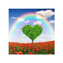 DIY 5D full round diamond painting heart-shaped rainbow landscape pattern cross stitch mosaic rhinestone home decoration gift