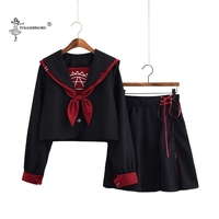 Girls Japanese School Uniforms Lady Female Group Sailor Suit Lady Team Dance Performance Halloween Costumes 2 piece Set With Tie