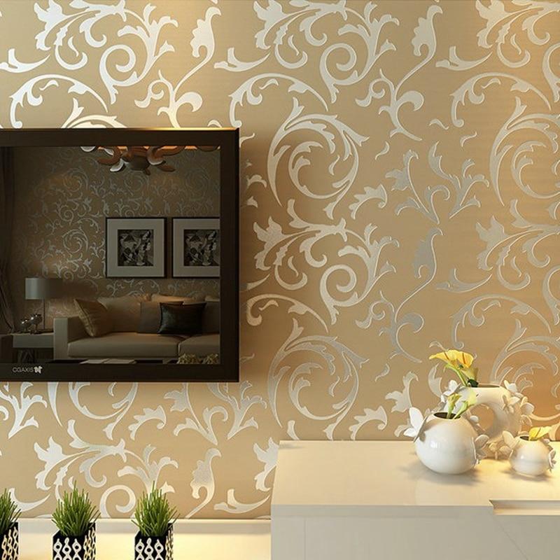 Luxus Grau Silber Blatt 3d Steroscopic Tapete Fur Wande Rollen Gold