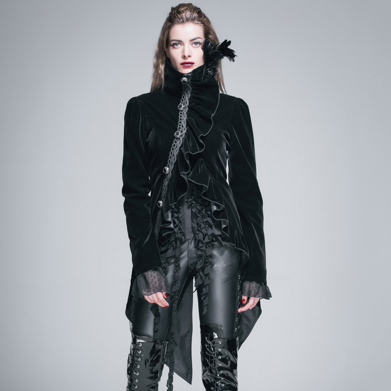 Devil Fashion Gothic Style Women Dress Swallowtail Jackets Steampunk High Collar Ruffled Coats Cocktail Party Outerwear