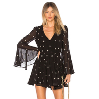 HDY Women Star Embroidery Dress See Through Chiffon Black Women Dress Elegant Long Sleeves V Neck A Line Mini Dress