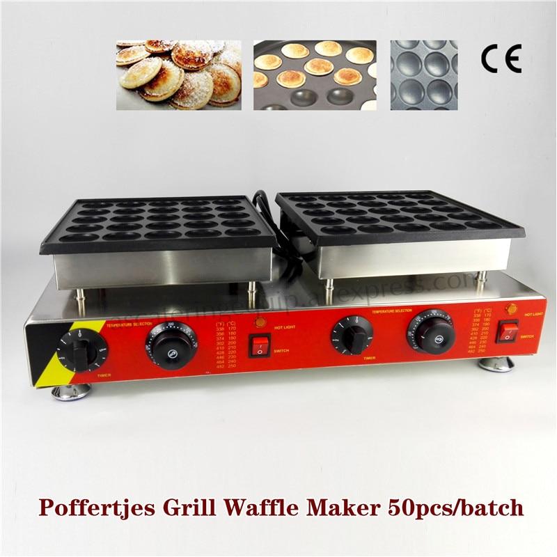 2 Heads Dutch Small Pancakes Grill Poffertjes Machine Nonstick Baking Maker 50 pcs Molds