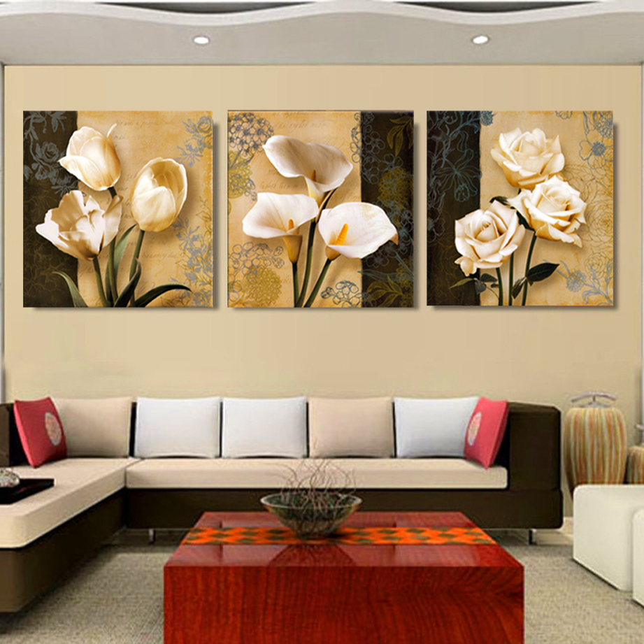 Wall Paintings Living Room Aliexpresscom Buy New Luxury 3 Pics Brown Orchid Modern Art