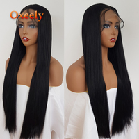 Oxeely Yaki Straight Synthetic Lace Front Wigs Long Black Hair Glueless Yaki Lace Front Wig Baby Hair for Black Women