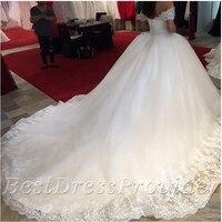 Gorgeous Sweetheart Cap Sleeve Princess Wedding Dresses 2015 Beaded Royal Train White Bridal Wedding Gowns Robe