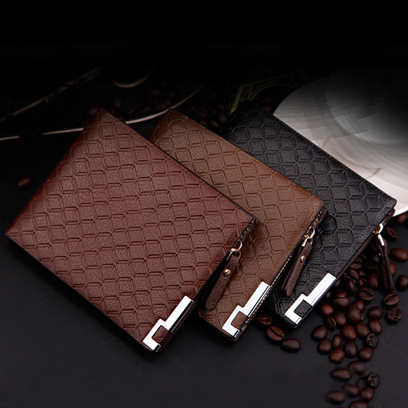 New Multifunction Man Wallets PU Leather Zipper Business Wallet Card Holder Pocket Purse Plaid Pounch Fashion Popular simline fashion genuine leather real cowhide women lady short slim wallet wallets purse card holder zipper coin pocket ladies