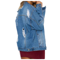 Women New Fashion Pockets Vintage Denim Jacket Coat Spring Autumn Denim Jacket Street Style Ripped Hole
