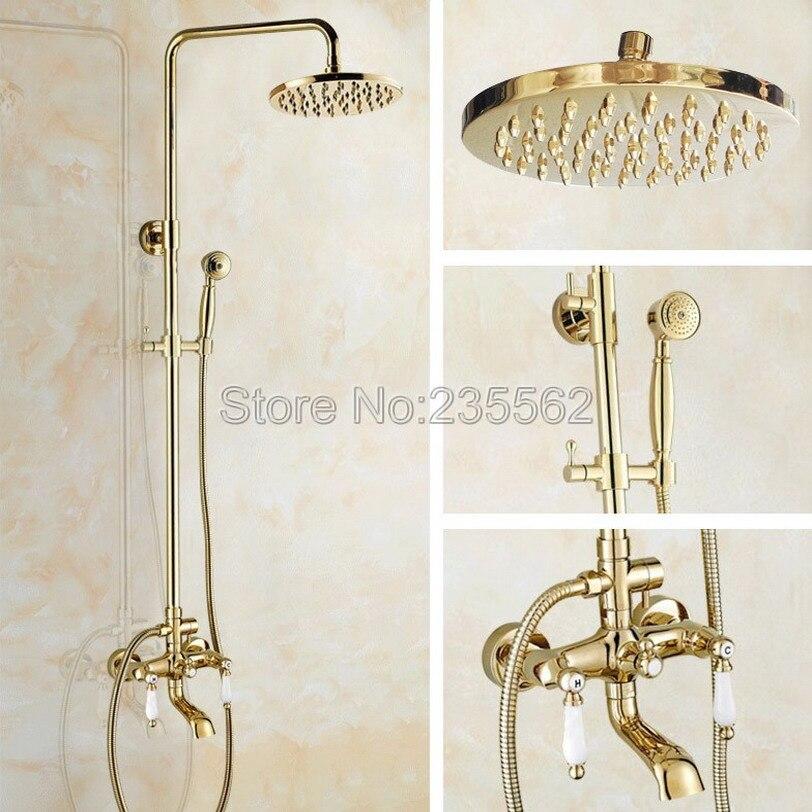 Golden Brass Bathroom Rain Shower System Hand Shower Head Tub Spout Set Dual Ceramic Handle Mixer Tap lgf362