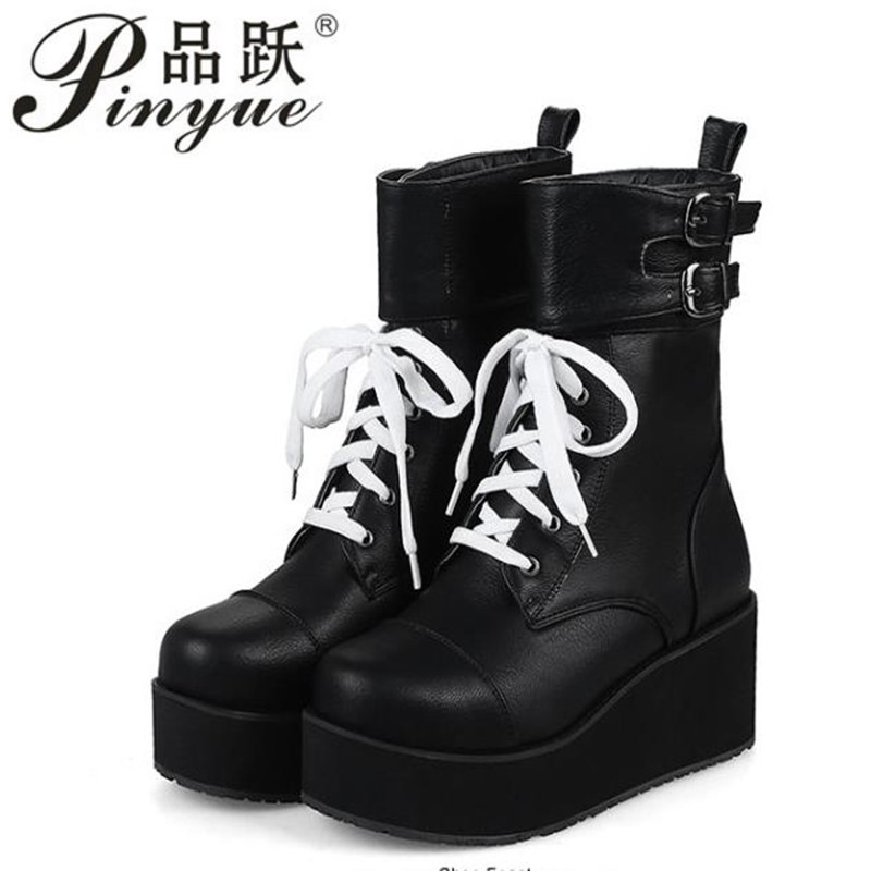 Rock Punk Gothic Boots Women Shoes Platform Creepers Wedge High Heels new Boots Lace Up Motorcyle