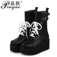 Rock Punk Gothic Boots Women Shoes Platform Creepers Wedge High Heels Martin Boots Lace Up Motorcyle Ankle Boots Ladies