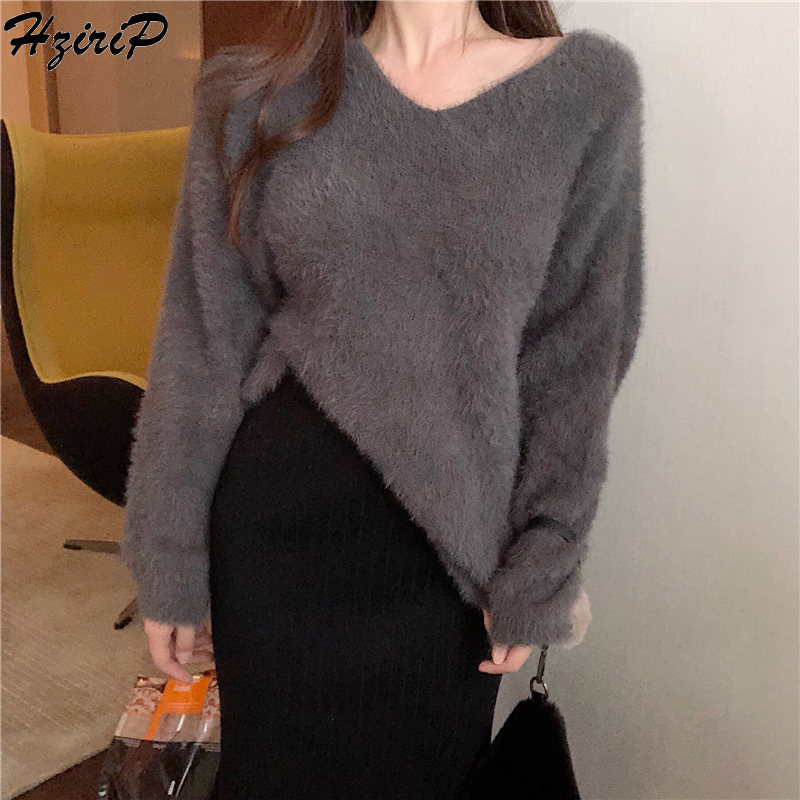 HziriP 2019 Fresh Casual Autumn Winter Lazy Style Pullover Thick Female Loose Simple Cute Free All-Match Stylish Sweet Sweater