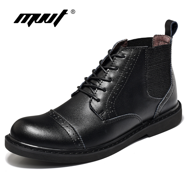 MVVT 2017 New Fashion Men Boots Quality Split Leather Boots For Men Oxfords Non Slip Ankle