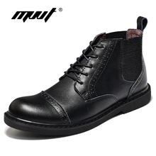 Mvvt 2017, Новая мода Мужские ботинки Качество Разделение кожаные сапоги для мужские оксфорды Нескользящие Ботильоны Водонепроницаемый ботинки осень-зима