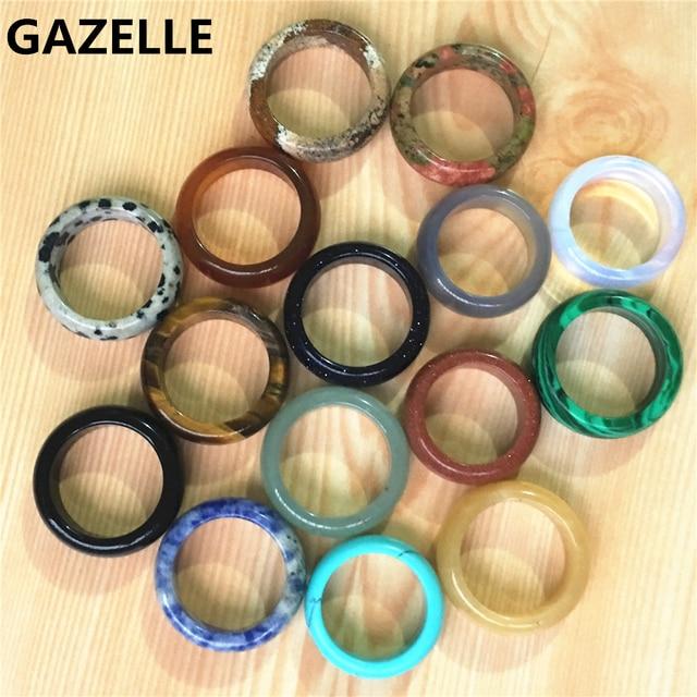 Nova qualidade superior quente onyx opal tiger eye moda mix cor natural pedra bandas de casamento anéis lote para mulheres 10 pçs 8mm 18 #20 #
