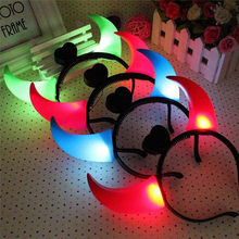 2017 Halloween LED Light Ox Horn Hair Neon Glow In Dark Hair Hoop Headband Headwear Accessories Costume Fancy Party New Fashion