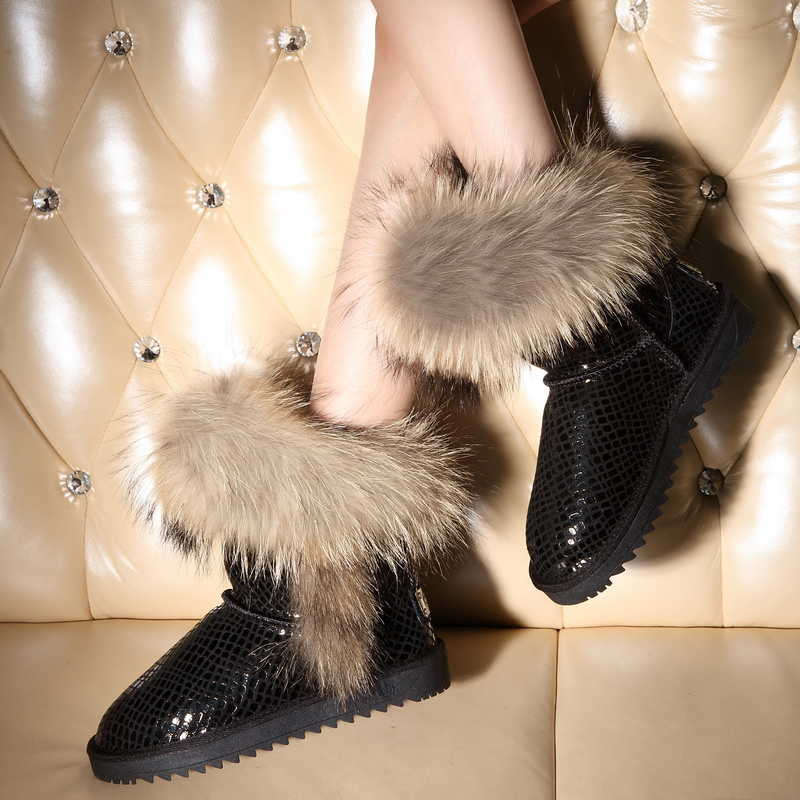 1906929d79 2019 Real Raccoon Fur 100% Genuine Leather Snow Boots Warm shoe Ankle Boots  Winter Women's Boots