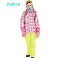 2cc3996b37f6 Russian Winter Children Clothing Sets Windproof Girls Ski Jacket+Bib ...