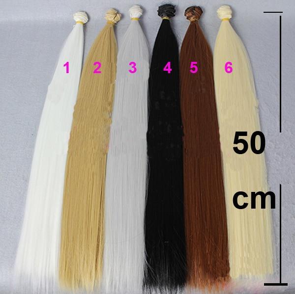 12 pieces/lot super long 50cm*100CM brown flaxen black coffe white brown straight wig hair for 1/3 1/4 BJD diy