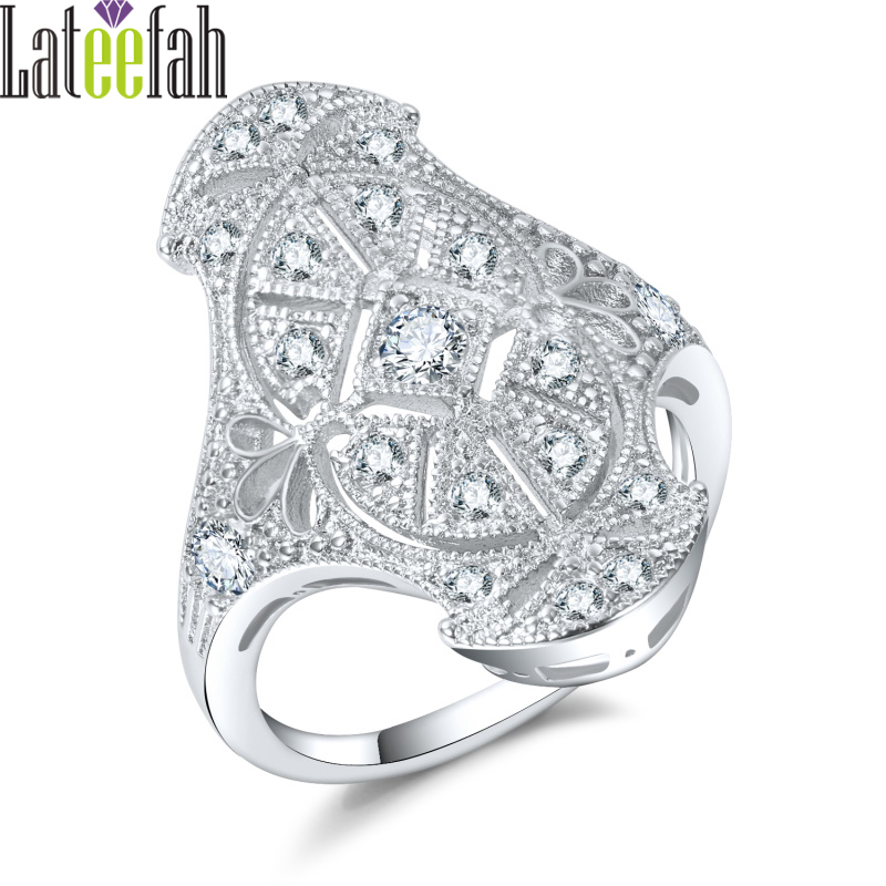 Lateefah Luxury Vintage Jewelry Engagement Ring Victoria Royal Jewelry Filigree Sparkling Cubic Zirconia Big Wedding Ring Anel