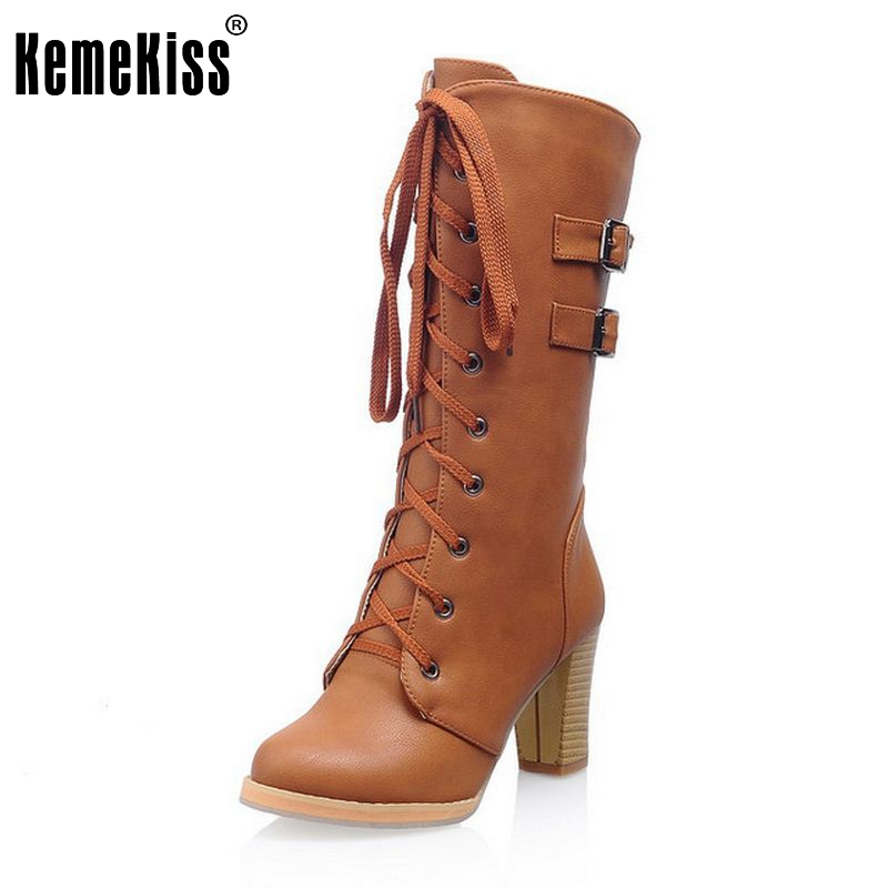 Size 33-43 Women High Heel Knee High Boots Autumn Winter Boot Shoes Woman Lace-up Zapatos Mujer Footwear Heels Shoes enmayla winter autumn round toe low heel knee high boots women flats lace up shoes woman rider brown black suede motorcycle boot