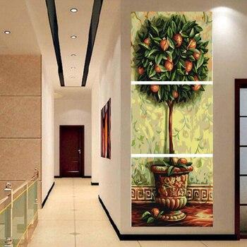 3 unid/set árbol DIY pintura al óleo por números kits Wall Art Picture Decoración para el hogar acrílico en la lona para las ilustraciones