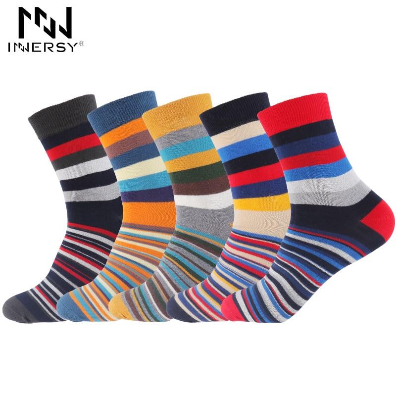 Innersy 2017 Brand 5Pcs/lot Socks Men Ankle Socks Breathable Deodorize Socks Cotton Boys Colorful Sock Casual Wear Print Winter