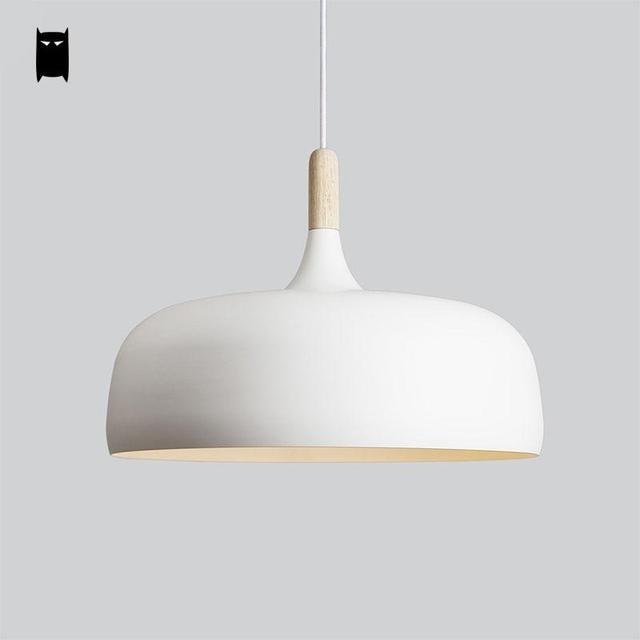 White Black Wood Aluminum Shade Pendant Light Cord Fixture Modern Nordic Korean Creative Hanging Lamp Dining